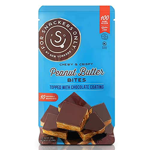 For Snackers Only Peanut Butter Bites Topped with Chocolate Coating - Non Dairy Kosher Pareve - Gluten Free - Vegan Friendly - 10 Individually Wrapped Pieces in a Bag - 100 Calorie Snack