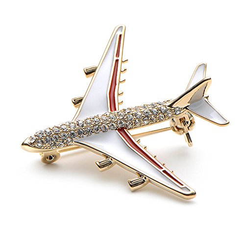 VANKER Rhinestone Aircraft Airplane Model Brooch Corsage Pin Alloy Crystal Jewelry Clothes Suit Decor for Women Ladies Gift (Red)