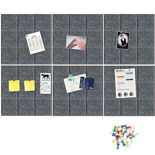 HyFanStr Groß Filz Pinnwand Korkplatte 30X30cm, 6 Stück Selbstklebende Platz Korkplatte mit 30 Stück Pushpins für Foto Hängen, Bulletin Tafeln Heimdekoration und Büro