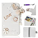 Alcatel One Touch Idol 2 Mini S 6036Y Coque, Moonmini Luxe 3D Bling Crystal Heart Love strass Cuir de portefeuille de bourse...