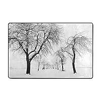 冬の木 カーペット ラグ 91×60cm 洗える 滑り止め付 1年中使えるタイプ 床暖房 ふわっと手触り