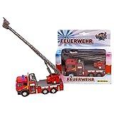 Kids Globe Traffic 510126 - Coche de Bomberos con Escalera giratoria, Juguete Infantil con luz y Sonido, Color Rojo