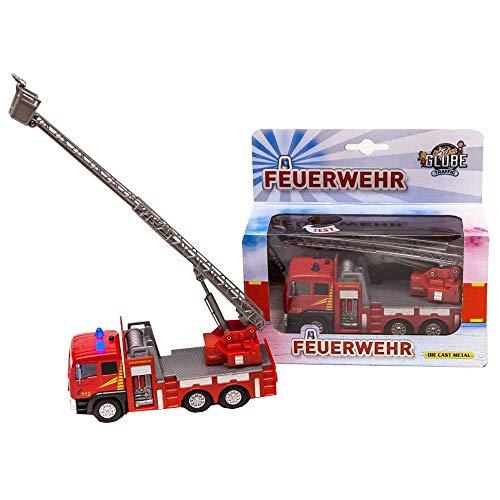 Kids Globe Traffic Feuerwehrauto mit Drehleiter, Spielzeug, Kinderspielzeug mit Licht und Sound, 510126, rot