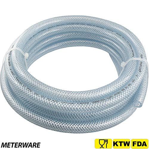 Fittingteile - Meterware PVC-Schlauch mit Gewebeeinlage Lebensmittelqualität Trinkwasser Druckluft Wein (Schlauch Ø Innen: 19,0 mm)