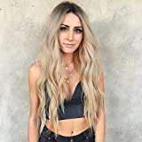 AISI HAIR Long Blonde Curly Wavy Wigs Middle Part Ombre Blonde Natural Looking Long Thick Wavy Wig for Women Long Heat Resistant Fiber Synthetic Wig for Daily Use