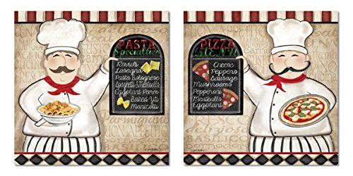 Gango Home Décor Lovely Italian Pizza and Pasta Menu Chef Set; Two 12x12in Unframed Paper Posters (Printed On Paper, Not Chalkboard)