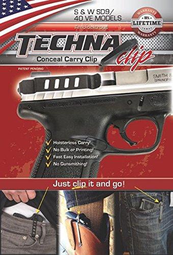Techna Clip Clip Ceinture pour Beretta, Diamondback, Glock, Kahr, Kel-Tec, Kimber, Ruger, Sig Sauer, Smith & Wesson, Springfield, Taurus, 1911, mixte adulte, S&W SDVE 9mm .40 Conceal Carry Clip (Ambi)