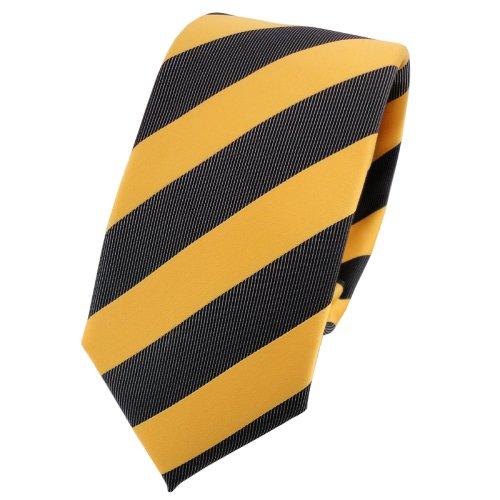 TigerTie - corbata estrecha - amarillo dorado antracita negro rayas -