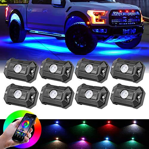 LED Rock Lights, Nirider Underglow LED Light Kit Neon Lights Waterproof Bluetooth Lights RGB Rock Lights for Truck ATV UTV RZR Car Off Road 4 WheelMotorcycle Boat - 8 Pack