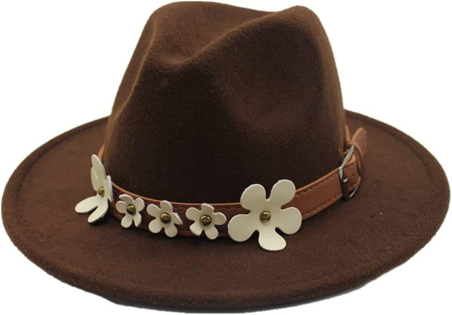 No-branded Men Women Wool Fedora Hat with Flowers Church Jazz Hat Wool Trilby Fascinator Hat Casual Hat Size 56-58CM ZRZZUS (Color : Dark Coffee, Size : 56-58)