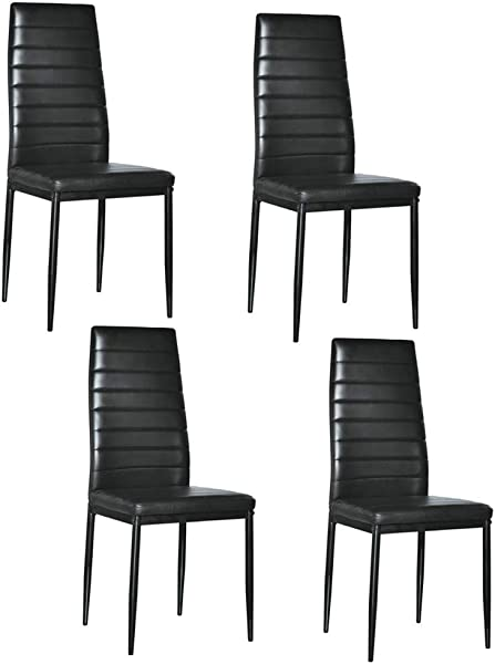 Simply Me Dining Chairs Set Of 4 Kitchen Chairs Dining Side Chairs Soft Leather Cushioned Seat For Home Kitchen Living Room Black