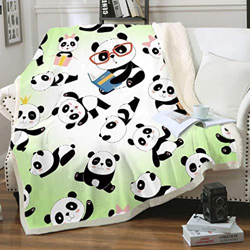 Panda - Manta de felpa de sherpa, suave y cálida manta difusa para niños o adultos para cuna, cama, sofá, silla, sala de estar, todas las estaciones, viajes al aire libre, 60 x 50 pulgadas