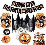 Bluelves Decoración de Fiesta de Halloween Set, Globos de decoración de Halloween, Happy Halloween Bandera, Halloween Tela De Araña, Halloween Magdalena Decoraciones, Halloween Calabaza Globos