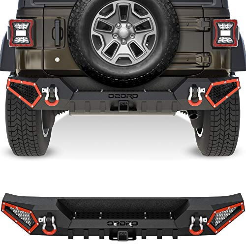 OEDRO Rear Bumper Compatible with 2018-2021 Jeep Wrangler JL & Unlimited JLU (2/4 Doors), Rock Crawler Full Width Bumper with Hitch Receiver & 2x D-Rings