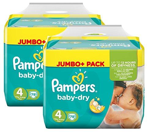 Pampers Baby Dry Größe 4 Maxi 7-18kg Jumbo Plus Pack (2 x 78 Windeln) 156 Windeln