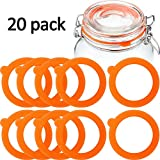 Outus 20 Pieces Replacement Silicone Seals Replacement Rubber Jar Seals Airtight Silicone Gasket Sealing Rings for Glass Clip Top Jar Canning
