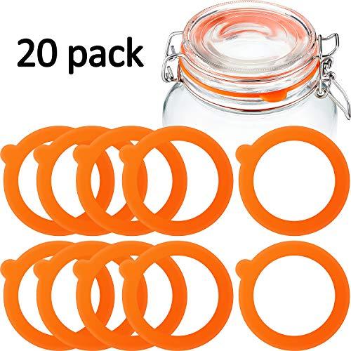 20 Stücke Ersatz Silikon Dichtungen Ersatz Gummi Einmachgläser Dichtungen Luftdichte Silikon Dichtungen Ringe für Glas Klammer Deckel Glas Einmachen