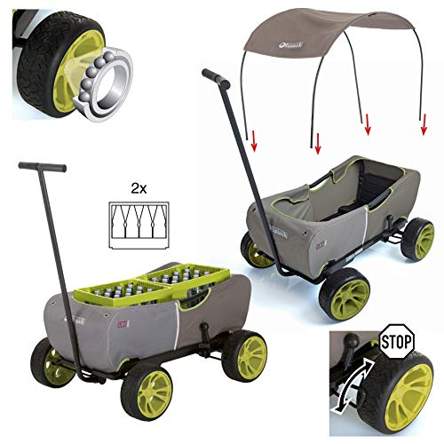 Hauck Eco Mobil Chariot de Transport pour 2 Enfants avec Toit Pare-Soleil et Coussin de siège, Pliable, Charge maximale 50 kg, Vert Sapin