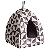 Hollypet Self-Warming 2 in 1 Foldable Comfortable Triangle Cat Bed Tent House, Gray Pattern