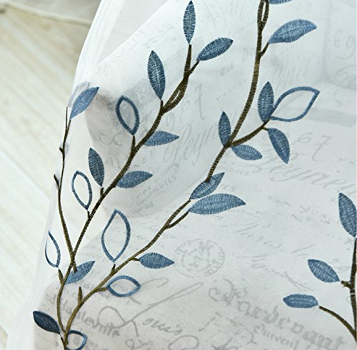 AliFish Floral Sheer Curtains 84 Inch Length Rod Pocket Window Curtains Light Flitering Embroidered Voile Drape Curtains Blue Leaves Pattern Sheer Curtains for Living Room 1 Panel Blue W75 x L84 inch