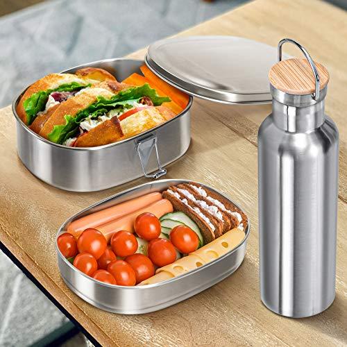 Oriware Brotdose Thermosflasche, Edelstahl Bento Box Lunch Brotzeitbox BPA-frei 2 Variablen Nachhaltige Spülmaschinenfest