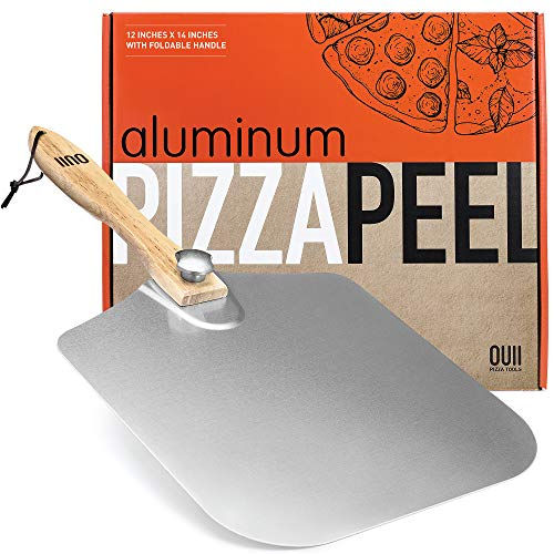 OUII Aluminum Pizza Peel 12''x14'' Metal Pizza Spatula Long Handle – Safe Indoor and Outdoor Pizza Oven Accessories and Pizza Paddle. Pizza Turning Peel, Pastry, Dough, Bread Peel & Cake Spatula