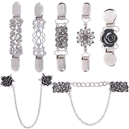 LOCOLO Vintage Pullover Schal Clips Cardigan Kragen Clips Blumen Muster für Frauen Mädchen (7) Silber