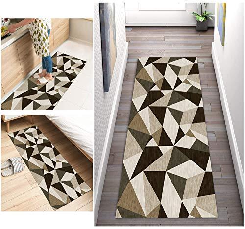 Corredor de Alfombra Para Pasillos Antideslizante, Alfombra de geometría larga lavable de poliéster adecuada para pasillo, cocina, sala de estar, ancho 40cm/ 50cm/ 60cm/ 70cm/ 80cm/ 90cm/ 100cm