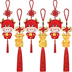 Package content: you will receive 6 pieces of Chinese New Year cow ornaments which are designed with 4 different styles, sufficient quantity and different styles are meeting different people taste, you can hang it on you car to welcome the New Year c...