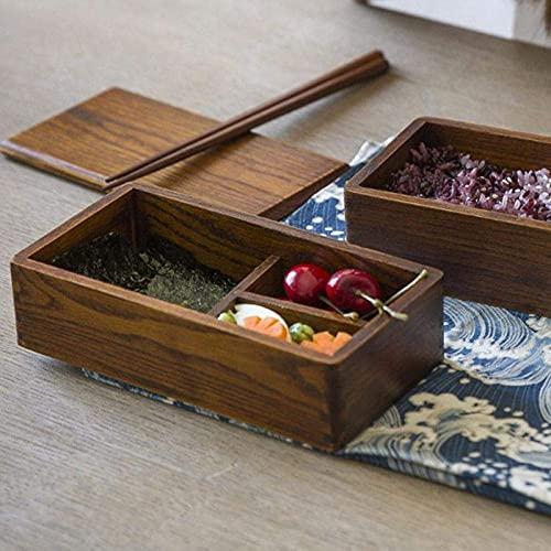 2 Capas rectángulo Madera Almuerzo Caja Sushi bento Almuerzo Caja portátil contenedor de Alimentos Frutas vajilla vajilla vajilla Juego (Color : Khaki, Size : 18 * 10 * 9CM)