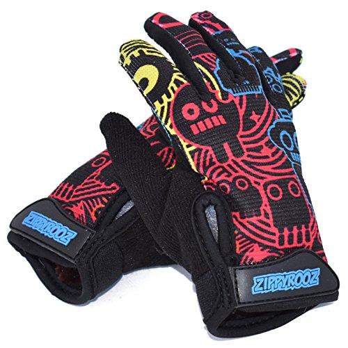 ZippyRooz Toddler & Little Kids Full Long Finger Bike Gloves (Robots, Little Kids Large (5-6))