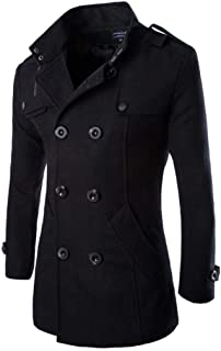 Comeon Mens Fashion Double Breasted Trench Coats Mid Long Wool Woolen Pea Coat Casual Lightweight Jacket Blazer Outerwear