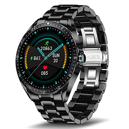 LIGE Smart Watch for Men, Fitness Tracker with Blood Oxygen, Blood Pressure, Heart Rate Monitor, 1.3 Inch Full Touch Screen IP67 Waterproof Smartwatch for Android iOS Black
