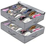 Onlyeasy Underbed Shoe Storage Container Flexible Zippered (Pack of 2, Fits 21-24 Pairs Total) Breathable Non-Woven Fabric for Shoes, 30 x 24 x 6 inches, Herringbone Grey Print, 7MNRUBSB2P