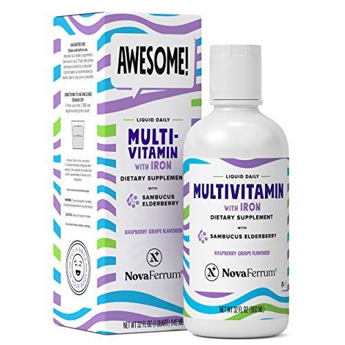 Awesome NovaFerrum Liquid Daily Multivitamin + Iron + Elderberry, Zinc, Vitamin A, B, C, D3, Trace Minerals & Amino Acids, Vegan, Gluten-Free Certified, Men, Women, Kids, 0 Sugar, 32oz