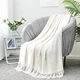 LUCIAN Knitted Throw Blankets White, Decorative Textured Cozy Throw, Lightweight Woven Blanket with Tassels for Couch, Bed, Sofa,Travel 50' 60',Suitable for Women Men and Kids