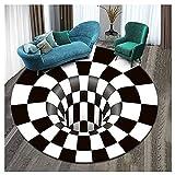 Alfombras de Redonda en Blanco y Negro de Rejilla 3D sin Fondo Alfombrilla de Trampa de ilusión óptica a Cuadros con Agujero Negro en Espiral para Salón, Dormitorio, Cocina 3Dvisual-5 180cm