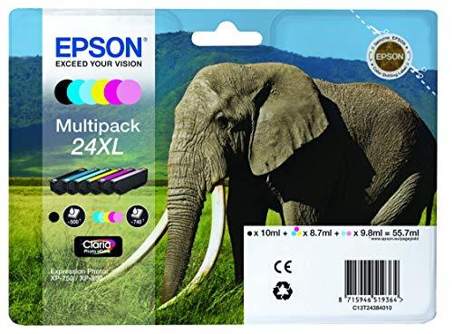 Encre d'origine EPSON Multipack Eléphant T2438 : cartouches Noir XL, Cyan XL, Magenta XL, Jaune XL, Cyan clair XL, Magenta clair XL Amazon Dash Replenishment est prêt