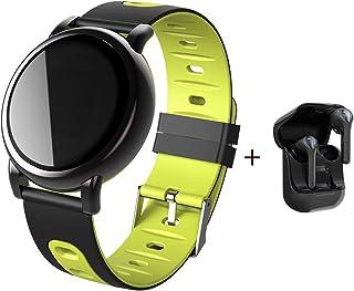 SZJNL Smartwatch Reloj Inteligente Mujer Hombre con Monitor de Ritmo Cardíaco/Sueño Podómetro Rastreador de Fitness Notificación de Mensaje + Auriculares Inalámbricos