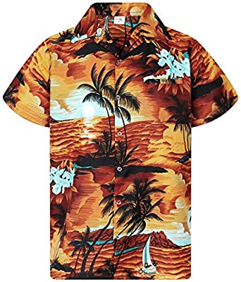 King Kameha Hawaiian Shirt for Men Funky Casual Button Down Very Loud Shortsleeve Unisex Surf