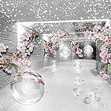 FORWALL AMF20176_Ven Papier Peint Photo Non-tissé 3D Motif Tunnel Magique avec Fleurs et Fleurs, Non-tissé, Rosa,Grau, V8 (368cm. x 254cm.)
