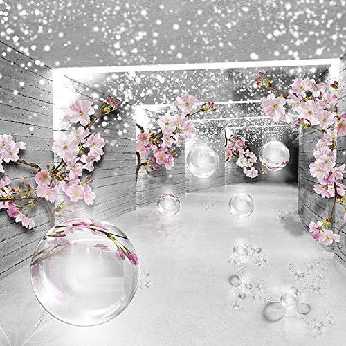 FORWALL Fototapete Vlies - Tapete Moderne Wanddeko 3D Magischer Tunnel mit Blumen V4 (254cm. x 184cm.) AMF3360V4 Wandtapete Design Tapete Wohnzimmer Schlafzimmer