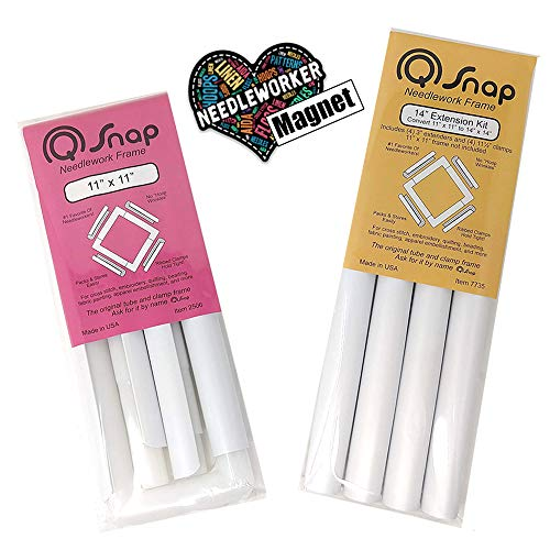 Q-Snap Bundle: 11 x 11 inch Frame, 14 x 14 inch Extension Kit & Decorative Needleworker Magnet