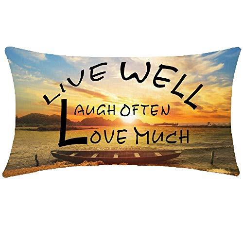 Mesllings Lindo regalo inspirador cita Live Well Laugh Often Love Much Sunset Ocean Boat Sky Nature paisaje lumbar cintura de algodón lino manta funda de almohada sofá silla decorativa rectangular 12 x 20 pulgadas