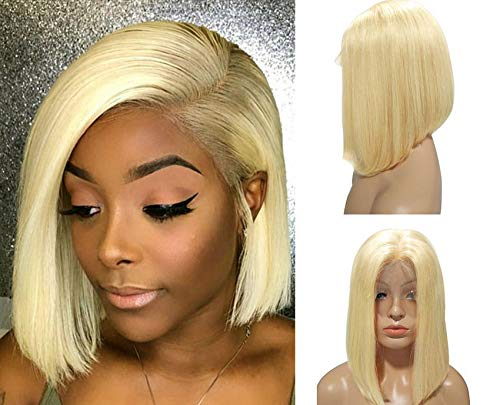 Blonde Lace Bob Wig #613 Virgin Human Hair Pre Plucked 13×4 Lace Frontal Straight 10inch Middle Part Short Cut Bob wigs 180% Density for Women(Could be restyle)