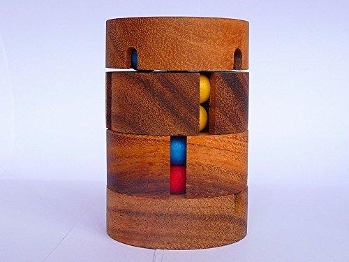 Logica Juegos Art. Tantri - Rompecabezas de Madera Preciosa - Enigma de Cilindro Mágicos - Dificultad 3/6 Difícil - Serie Euclide