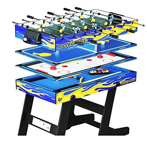 WJSWHW 4-in-1 Multifunktions-Billardtisch, zusammenklappbar, Ping-Pong-Tisch, Eishockey-Tisch, Kick-Spiel, für Kinder und Erwachsene mit Queue, Ball, Kreide, Gestell, Bürste, 1 Set Tischtennisplatte