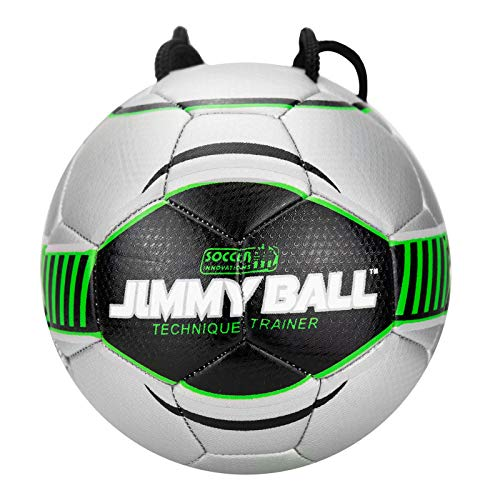 Soccer Innovations Mini Jimmy Ball with Free Home Training Program & Poster, Size 2, Green/Silver