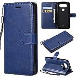 BoxTii Coque LG Q8, Etui en Cuir Flip Portefeuille Housse de Protection pour LG Q8 (Bleu)