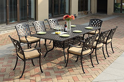 """Darlee 201630-9PC-30SLD Cast Aluminum 9 Piece Rectangle Dining Set & Cushions, 42"""" by 92"""", Antique Bronze"""